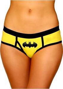 Batman-Boyshort-Panties-Logo-Large-Yellow-Black-Comic-Super-Hero-Fan-Lingerie