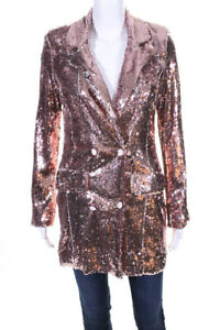 Endless Rose Womens Sequin Double Breasted Blazer Rose Gold Size XS