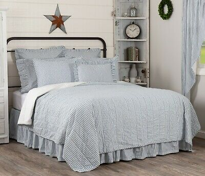 Blue Full Queen Ticking Stripe Quilt, Farmhouse Blue Ticking Bedding