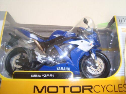 MINIATURE MOTO YAMAHA YZF R1 BLUE 1//12 MAISTO NEW IN BOX