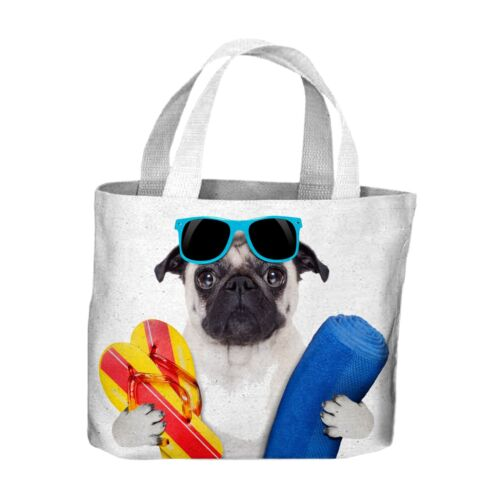 Pug Dog On Holiday Tote Shopping Bag For Life