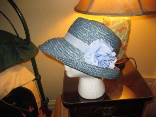 Vintage Designer Kate Spade Blue Raffia Floppy Buc