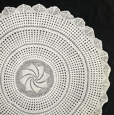 """Pineapple Handcrochet 22"""" 56cm ecru vintage lace doilie doily doiley round"""