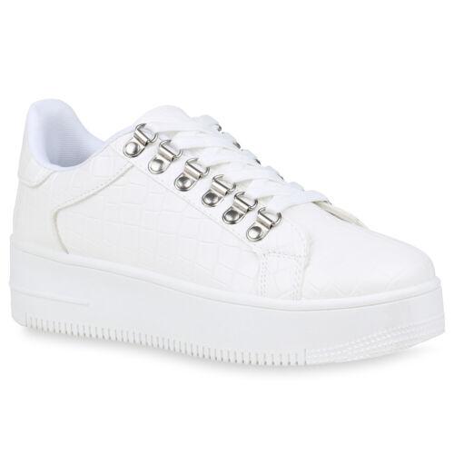 Damen Plateau Sneaker Keilabsatz Turnschuhe Schnürer Kroko-Optik 832923 Trendy