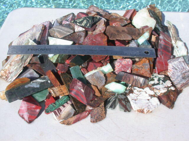ROUGH ROCK CUTTINGS VARIOUS JASPER AGATE 4 CRAFTS JEWELRY LAPIDARY CABS 19.4 LB