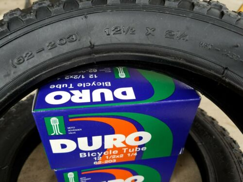 "2 DURO TUBES *BLACK 1 SET 12/"" KIDS JUNIOR BICYCLE TIRES 12-1//2X2-1//4 DURO TIRES"