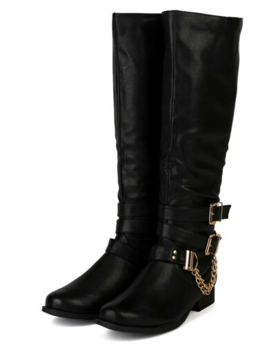 Nature Breeze Prima-12H 2 New Buckles Chains Knee High Motorcycle Riding Boot