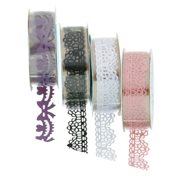 1Roll Adhesive Washi Paper Lace Roll DIY Decorative Sticky Paper Masking Tape