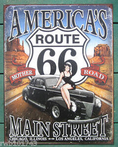 Route-66-America-039-s-Main-Street-Pinup-TIN-SIGN-vintage-garage-bar-wall-decor-1957