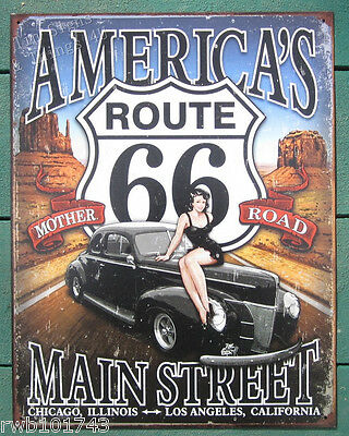 Route 66 America's Main Street Pinup TIN SIGN vintage garage bar wall decor 1957