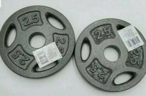 """Two 2 2.5 lb Pound Standard 1"""" Grip Barbell Weight Plates 5 lbs Total NEW!"""