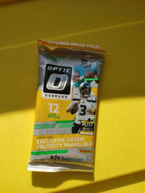 🔥🔥2020 Donruss Optic Football 12-Card Value Cello Pack Green Velocity, Sealed