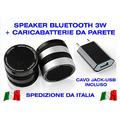 Cassa Bluetooth Speaker Portatile 3W Radio FM MP3 MicroSD Universale Smartphone