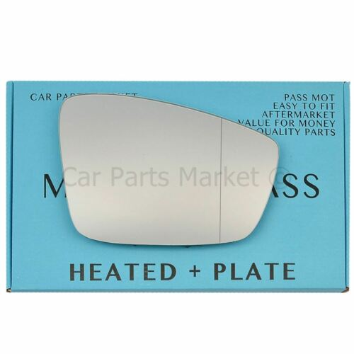 For SEAT d/'11-17 Right Driver Aspheric Electric Wing Mirror Glass avec Plate