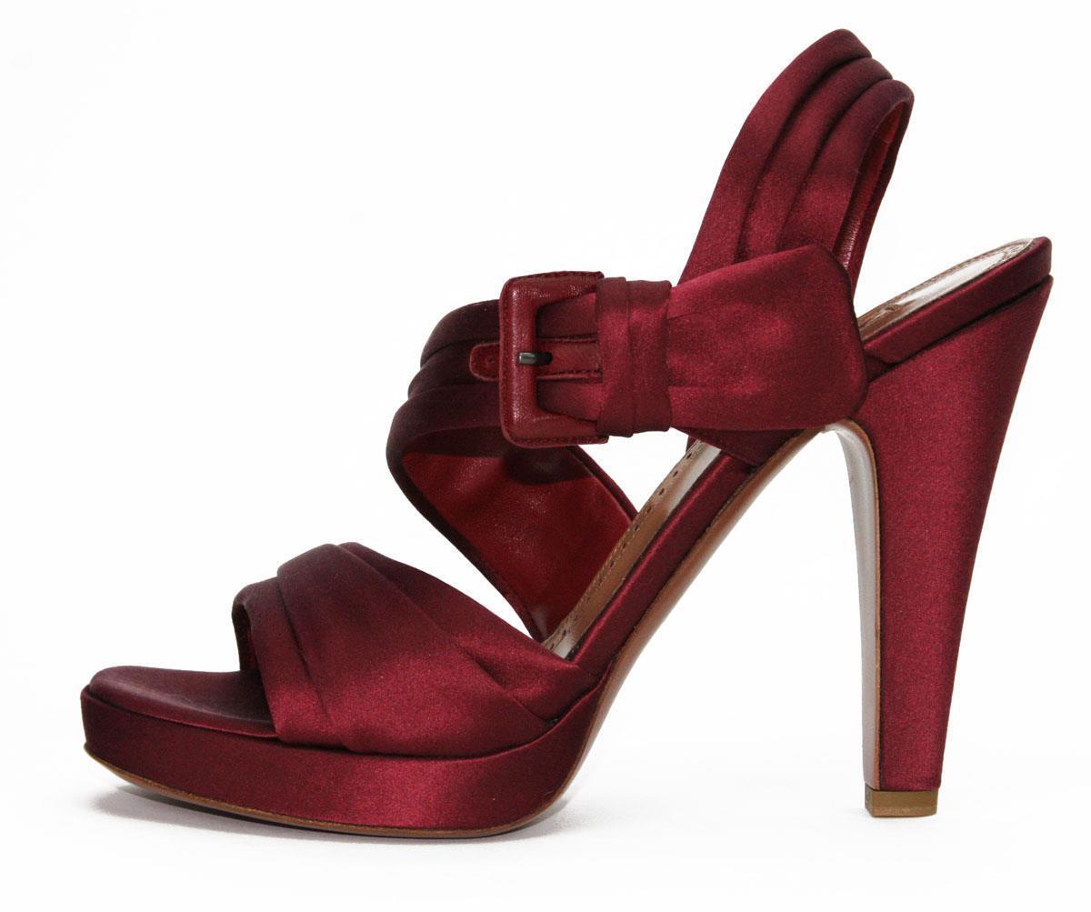 Nuevo Satén Borgoña Azzedine Alaia profunda Zapatos Sandalias Sandalias Sandalias de plataforma que nos. 39.5 - 9.5  descuentos y mas