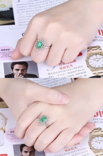 Women/'s White Gold Plated Green-Emerald Cubic Zirconia Cocktail Engagement Ring