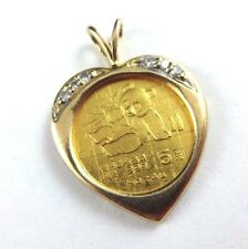 RARE 1989 Fine Gold 1/20 oz Chinese Panda Coin 14k Heart Diamond Bezel Pendant