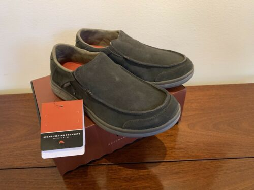 $99 Sz 10 Simms Fishing Bozeman Westshore Leather Slip On Shoe New Dark Olive