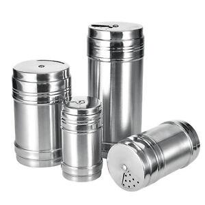 Stainless Steel Salt Pepper Shaker 4 Size Portable Home Travel