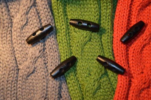 Noir Duffle Boutons bois bouton boutons 3,5cm x 1,1cm 3,5x1,1cm 5 pièces NEUF