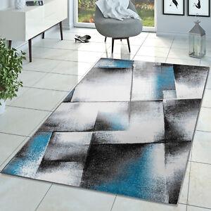 Das Bild Wird Geladen Designer Teppich Wohnzimmer Modern Kurzflor Teppich  Meliert Tuerkis
