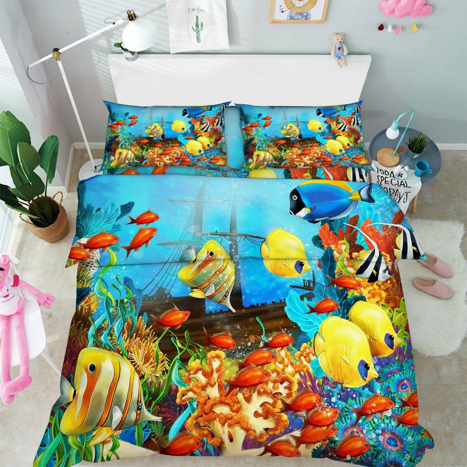 3D Fish Seaweed 686 Bed Pillowcases Quilt Duvet Cover Set Single King UK Lemon