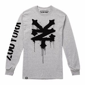 Zoo-York-Stencil-Manga-Larga-para-Hombre-Camiseta-Gris-Tallas-S-XXL
