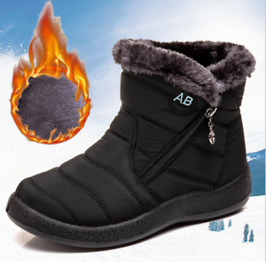 Winter-Women-Warm-Shoes-Snow-Boots-Fur-lined-Slip-On-Warm-Ankle-Shoes-Waterproof