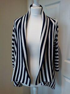 Hobbs-Cardigan-Size-S-M-Navy-Stripe-Waterfall-100-cotton