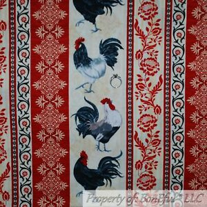 BonEful-FABRIC-FQ-Cotton-Quilt-Red-Tan-Chicken-Rooster-Farm-Stripe-Flower-Damask