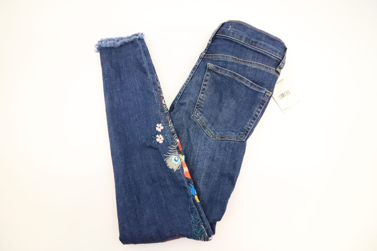 New Free People Embellished Dark Wash Jean Womens Size 24