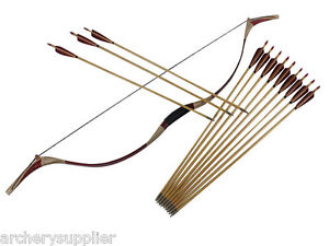 50-Lb-Snake-Skin-Mongolian-Bow-and-Arrows-Set-Archery-Hunting-Long-Recurve-Bow