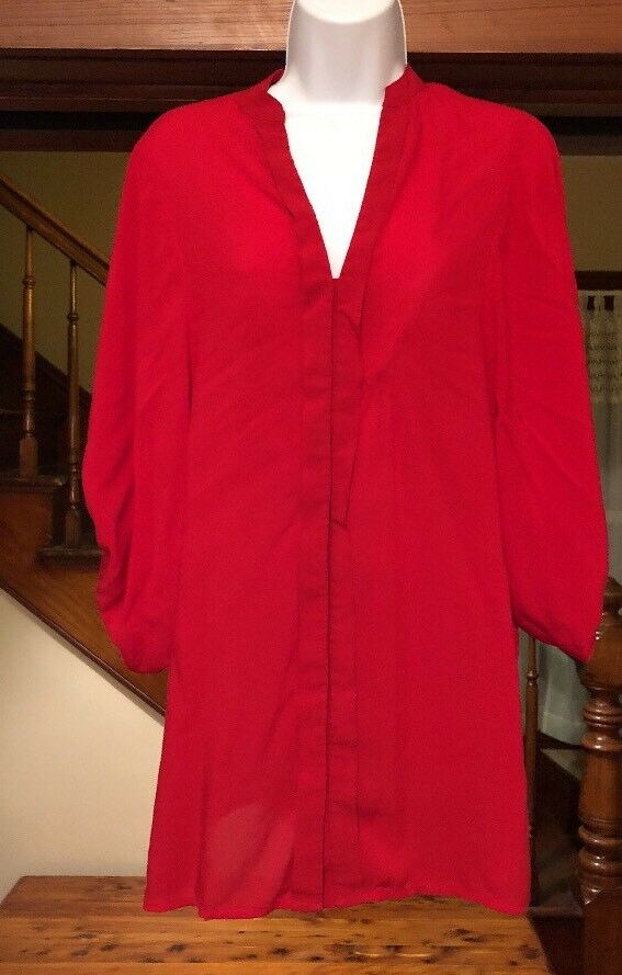 EXPRESS OverGrößed Bubble Sleeves rot Top Blouse Hemd Sexy Small