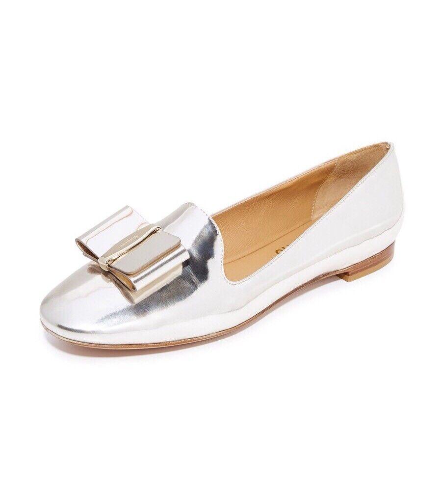 NIB Salvatore Ferragamo Elisabella Metallic Silver Bow Loafer Flats 35 5  525.00