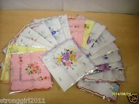 LOT OF 6/12 LADIES FLORAL HANDKERCHIEFS IMPERFECT COTTON HANKY VINTAGE INSPIRED