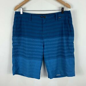 Hurley-Mens-Board-Shorts-Size-36-Blue-Striped-Swim-Shorts