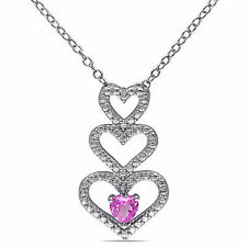 Sterling Silver 1/4 CT Pink Sapphire Triple Stacked Heart Love Pendant Necklace