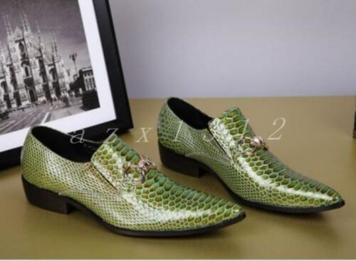 Dress Mens Pointy Toe Green Bling Dress Formal Shoes Leather Outdoor Wing Tip