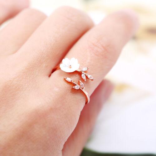 Womens Elegant Adjustable Open Ring White Shell Flower Tree Branch Rose Gold