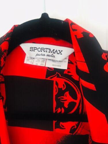 Size8 And Uk Silk Black maxmara Shirt Sportmax Red 0qx8TwnY