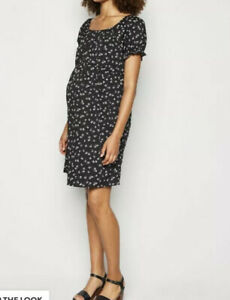 Maternity-Black-Ditsy-Floral-Square-Neck-Dress-New-Look-UK-12-New-DS53