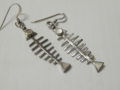 VINTAGE MEXICAN FISH SKELETON STERLING SILVER EARR