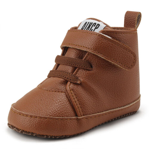 Toddler Crib Baby Boys Shoes First Walker High Top Sneakers No-slip Ankle Boots