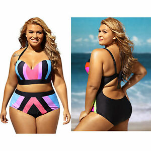 c04afadeb7 Plus size strapped color splice two piece swimwear swimming pool ...