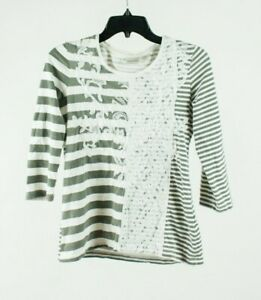 Chico's Zenergy Striped Embroidered Sequin Lace Top Shirt Blouse Size 0 Small