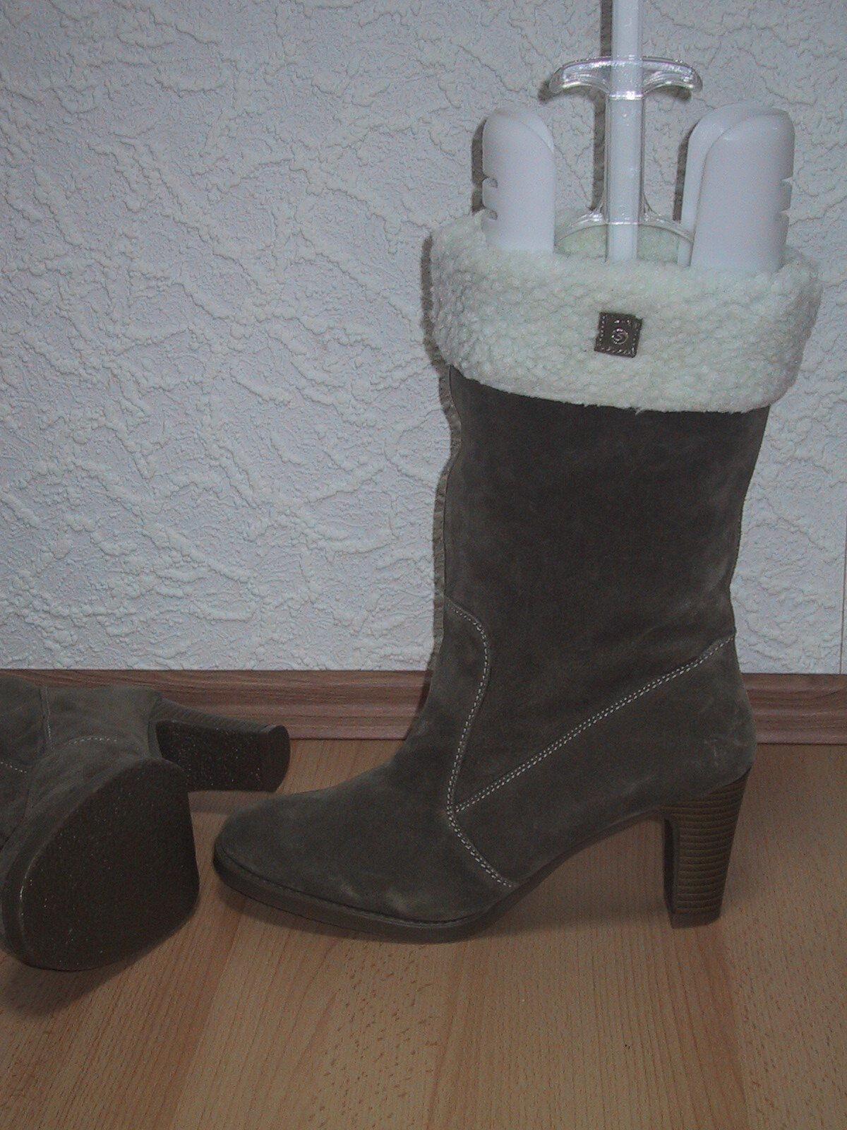 High Heel Schlupfstiefel NEU Gr. 41 in Veloursleder khaki Veloursleder in super warm & chic 58ba67