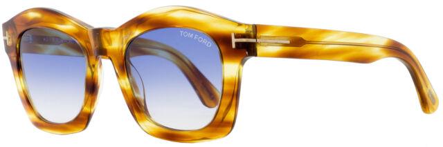 Tom Ford Greta TF 431 41W Striped Yellow Gold Sunglasses Blue Gradient Lens