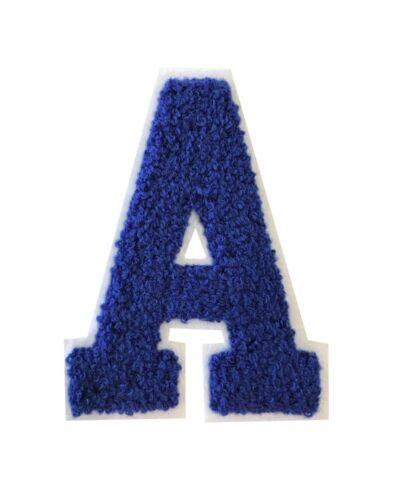 """4.25/"""" real azul sobre fondo blanco Chenille alfabeto Parche Listo Para Hierro-en"""