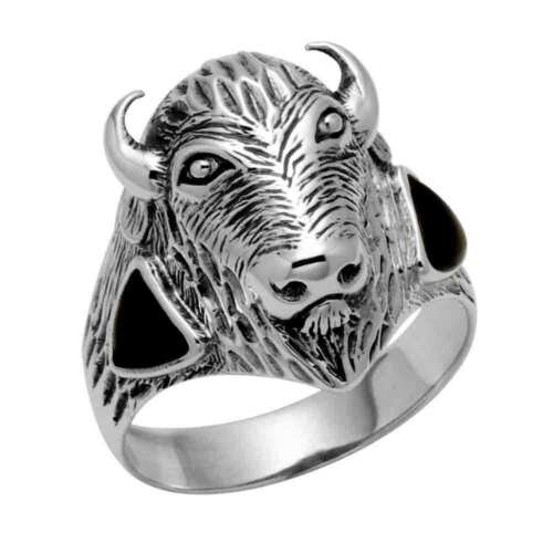 Sterling Silver Bison Ring w//Simulated Black Onyx R306