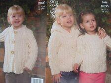 e5bd4c36a2c2ef King Cole Knitting Pattern 3098 Child Aran Wool Hooded Jacket Coat Sweater  18-24